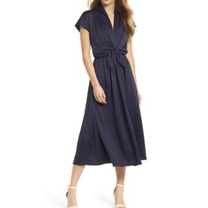 Margie Tie Waist Satin Midi Dress GAL MEETS GLAM